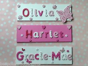CHILDREN KIDS WOODEN NAME PLAQUE  Personalised Bedroom Boy Girl Door Wall Sign