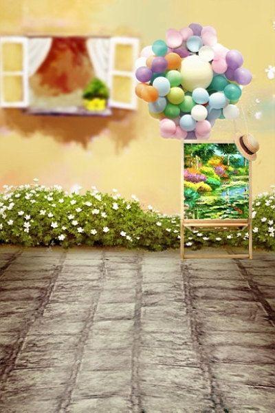 200cm 150cm Mini Baby Child Photography Balloon Flower Windows Background One Hundred Days B Backdrops Backgrounds Studio Background Images Flowers Photography