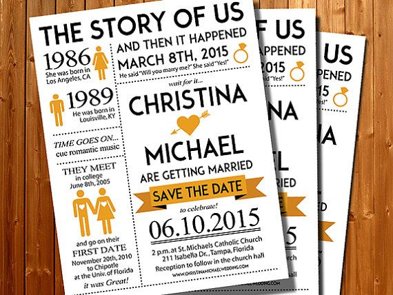 Wedding Invitation Save The Date Story Of By Hottomatoink2