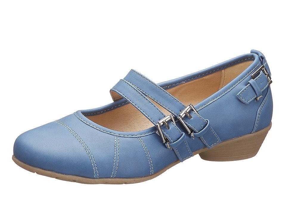 Pumps, City Walk. In trendiger Optik. Dieser Pumps ist ein wahres Schmuckstück für Ihre Füße. Die zwei schmalen Riemen, die sich galant über den Fuß legen und einen sicheren Halt geben, sowie der einzelne Riemen an der Ferse und die vielen farblich abgesetzten Nähte erkoren diesen Schuh zum Must-Have der Saison. Das pflegeleichte Lederimitatobermaterial, die angenehme Lederimitatinnenausstattun...