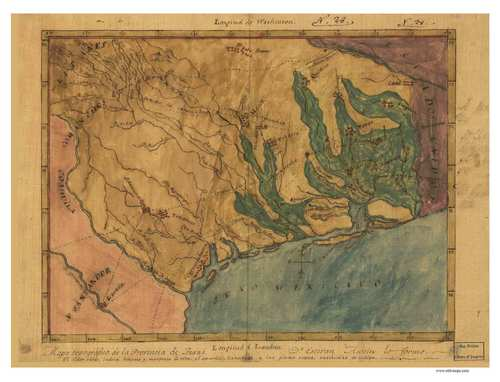 Texas 1822 Austin Old State Map Reprint Birds eye view