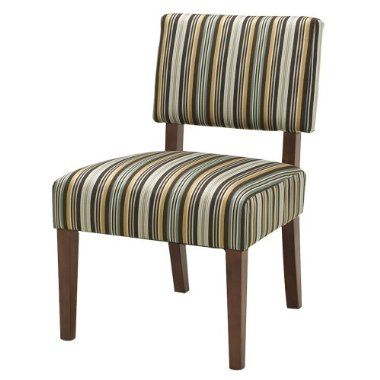 Mitchell Armless Chair, Blue, Brown, Gold, Stripes $140