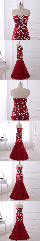 Wine red beading prom dresses erosebridal mermaid formal