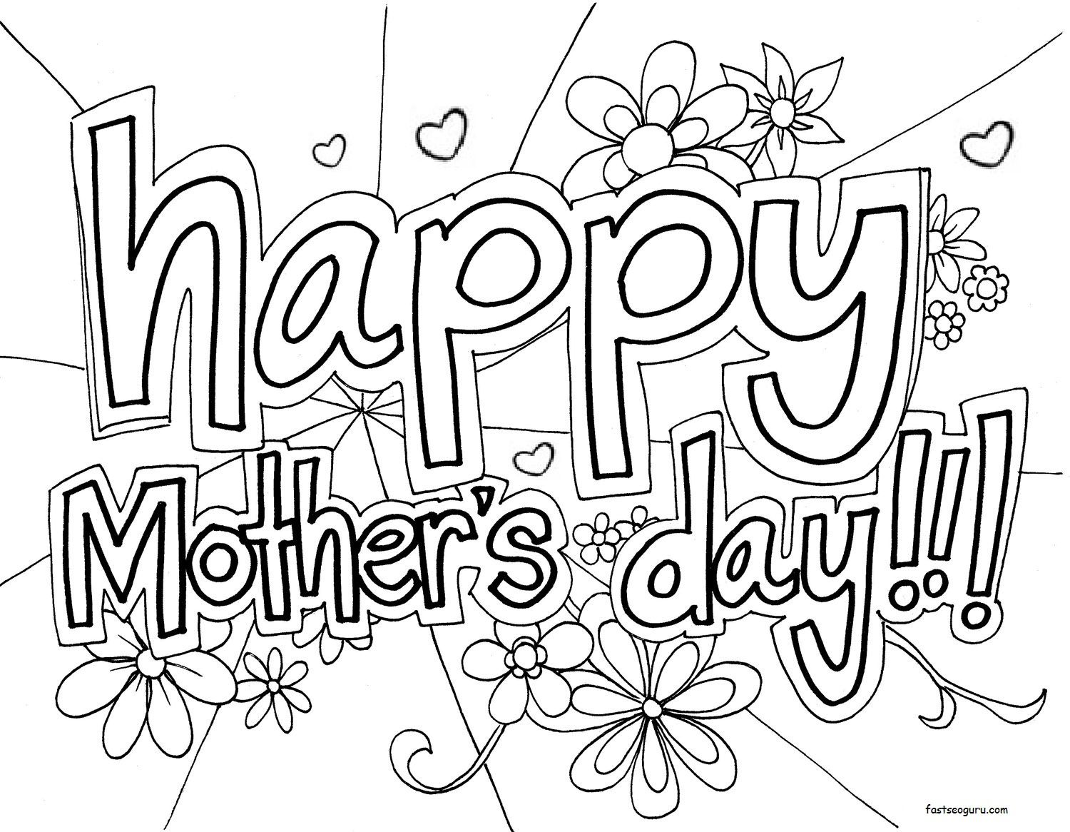 Printable Happy Mothers Day Coloring Page Mothers Day Coloring