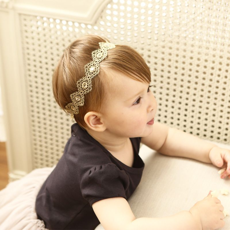 2017 New Fashion Girls Elastic Headband Flower Rhinestone Gold Lace  Hairbands Headwaear Kids Hair Accessories 0 3 years-in Hair Accessories  from Mother ... 6707040fb0ae