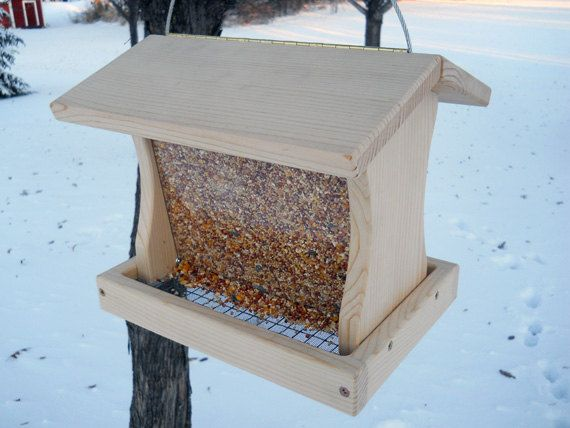 Hanging Bird Feeder Wood This Large Holds 5 Lbs Of