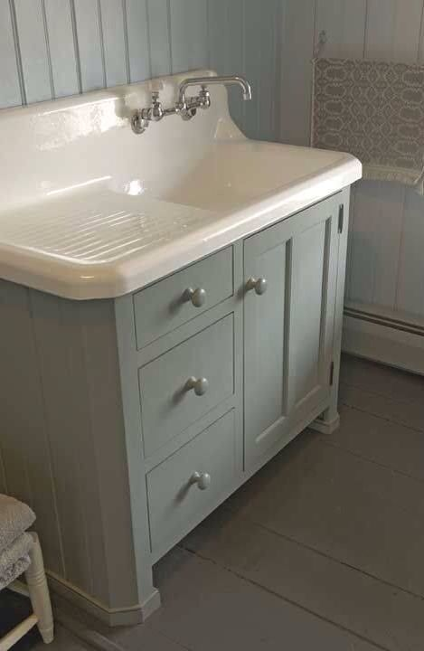 Old Drain Board Sink On Top Of An Old Dresser Bathroom Vanity Decor Farmhouse Sink Kitchen Laundry In Bathroom