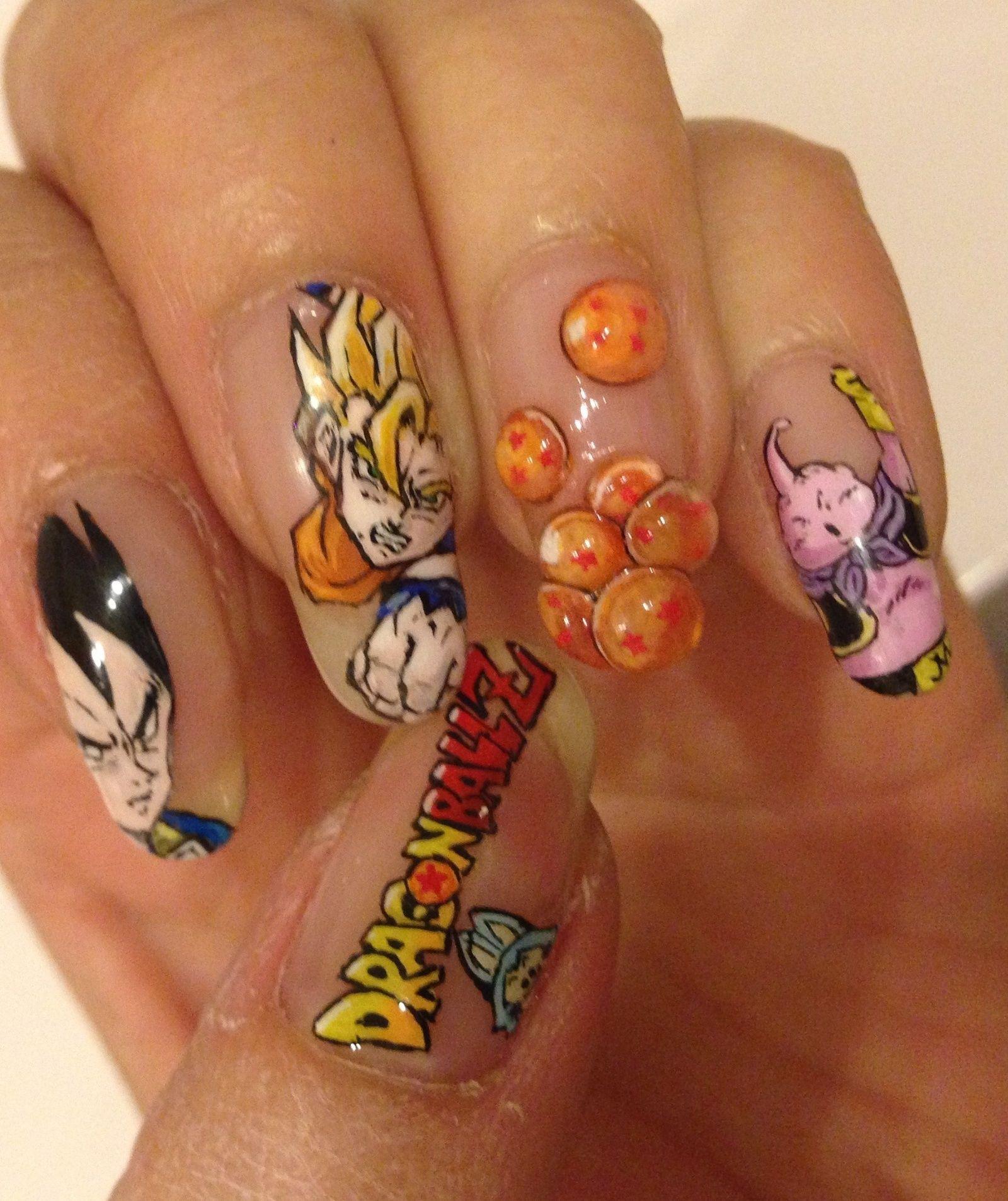 Dragon Ball Z Nail Art By Ai Suzuki Dragón Ball Pinterest