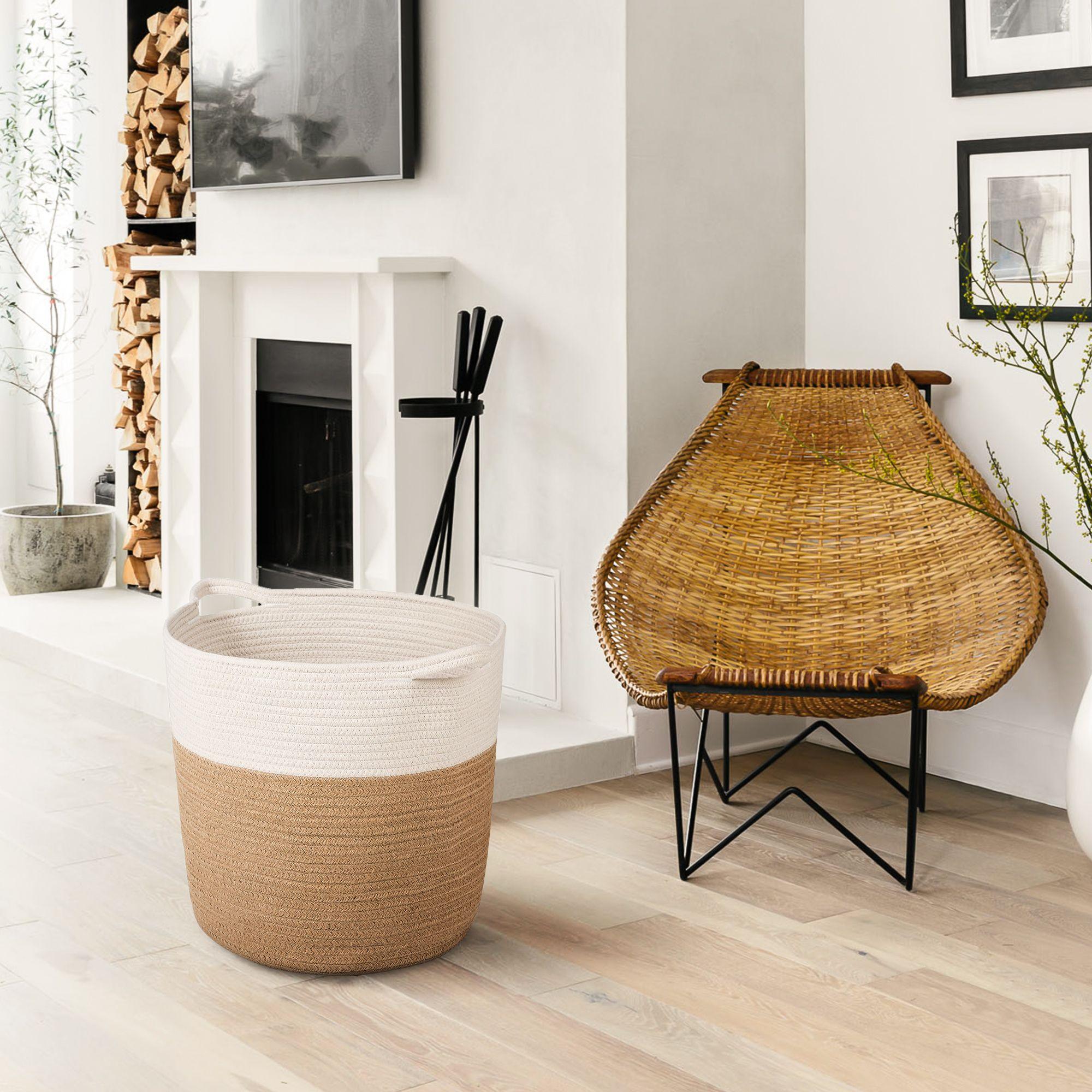 Xl Jute Rope Woven Laundry Basket With Handles Baby Hamper Bedroom