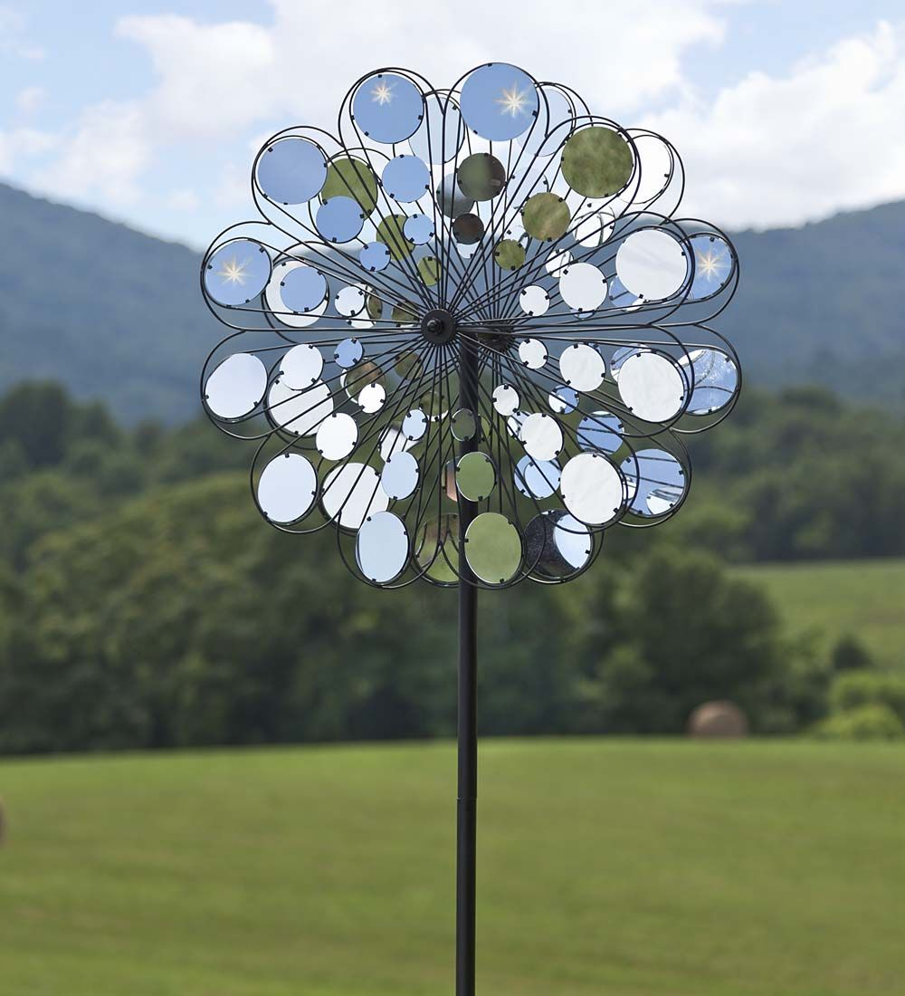 Bring Sparkle And Shine To Your Garden Spaces With Our Mirror Wind Spinner.  Each Rotoru0027s Blades Are Filled With Mirrored Discs Arranged In A  Flower Shaped ...