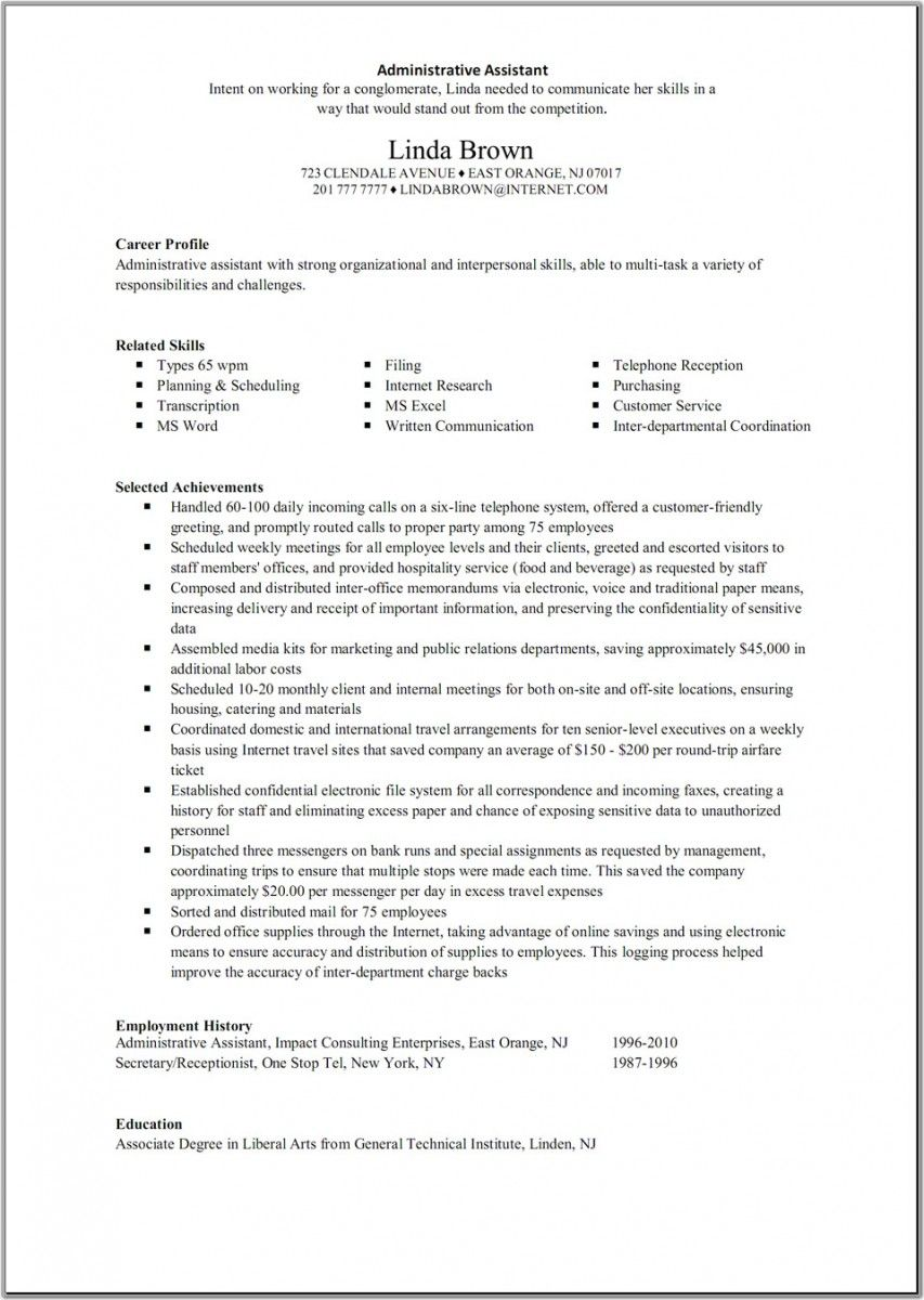 Executive Assistant Resume Template | Resume Template Ideas | Lead ...