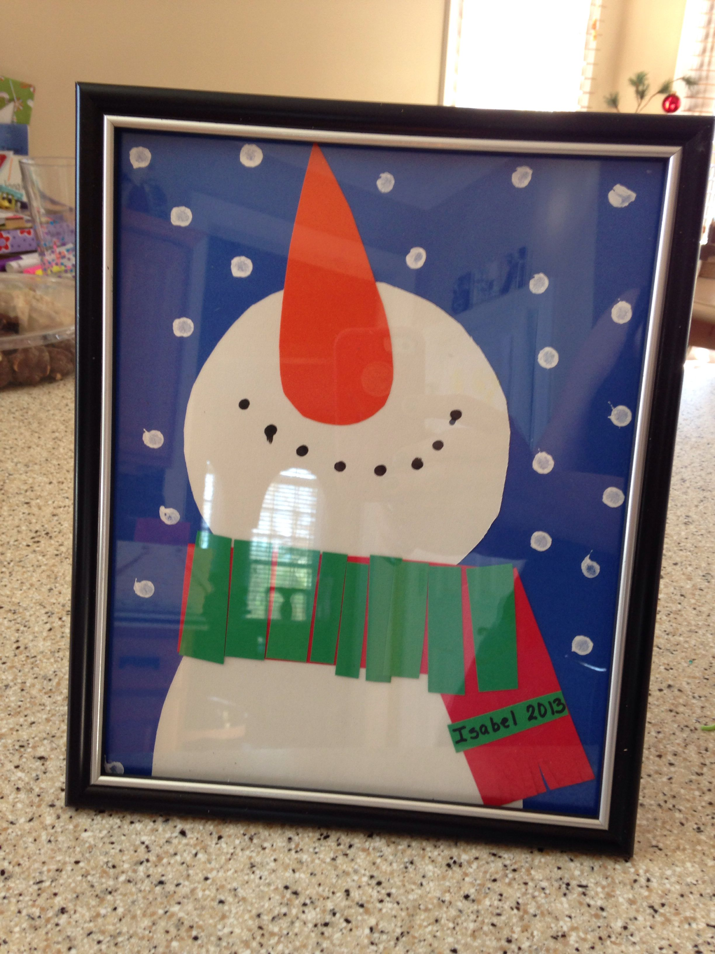 Snowman Print With Painted Snowflakes And Construction