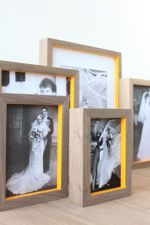 Wedding Photo Display Frame 11x14 Modern By Hostandtoaststudio Love The Contrast Of The Natural Wo Wall Photo Frame Collage Neon Painting Framed Photo Collage