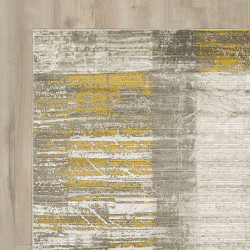 Chartwell Abstract Mustard Dark Brown Light Gray Area Rug With