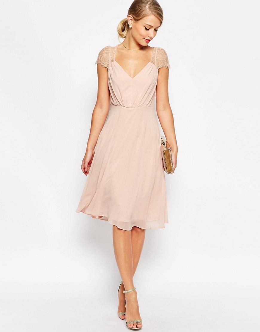 Asos wedding guest dress midi  Vestido de encaje a media pierna Kate de  moda  Pinterest  Lace