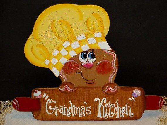 Wooden Gingerbread Magnet, Rolling Pin, Grandma's Kitchen, Frig Decor, Kitchen Decor, Gingerbread Decor,