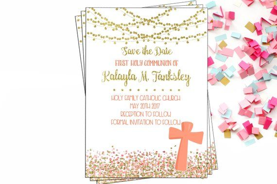 Save The Date Digital Invitation Communion Save The Date Coral