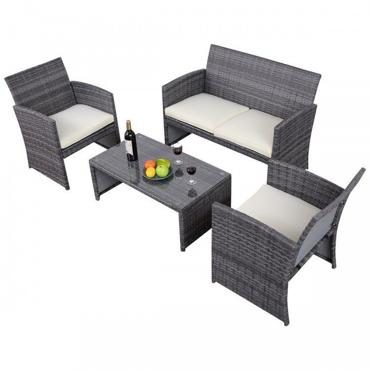 Rattan Wicker Patio Furniture Set Sofa Chairs Cushions Gray Grey 4