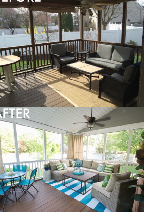 Screen Porch Makeover In 2020 House With Porch Porch Makeover Porch Furniture