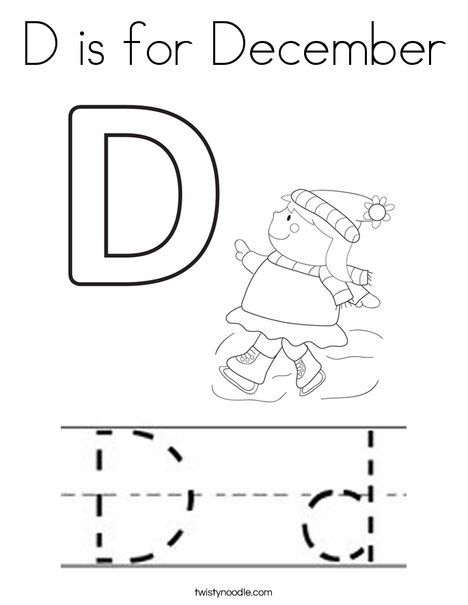 D is for December Coloring Page - Twisty Noodle | Coloring ...