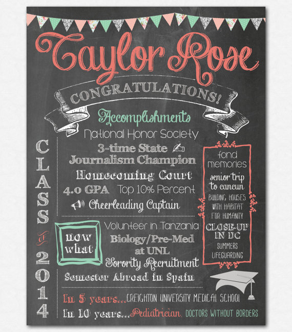 Graduation Poster Custom Printable PDF By Emilyedsondesign