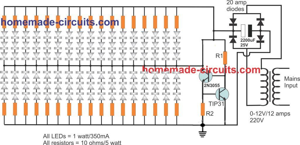 100 Led Lamp Circuit Current Controlled Circuit Projects Constant Current Led