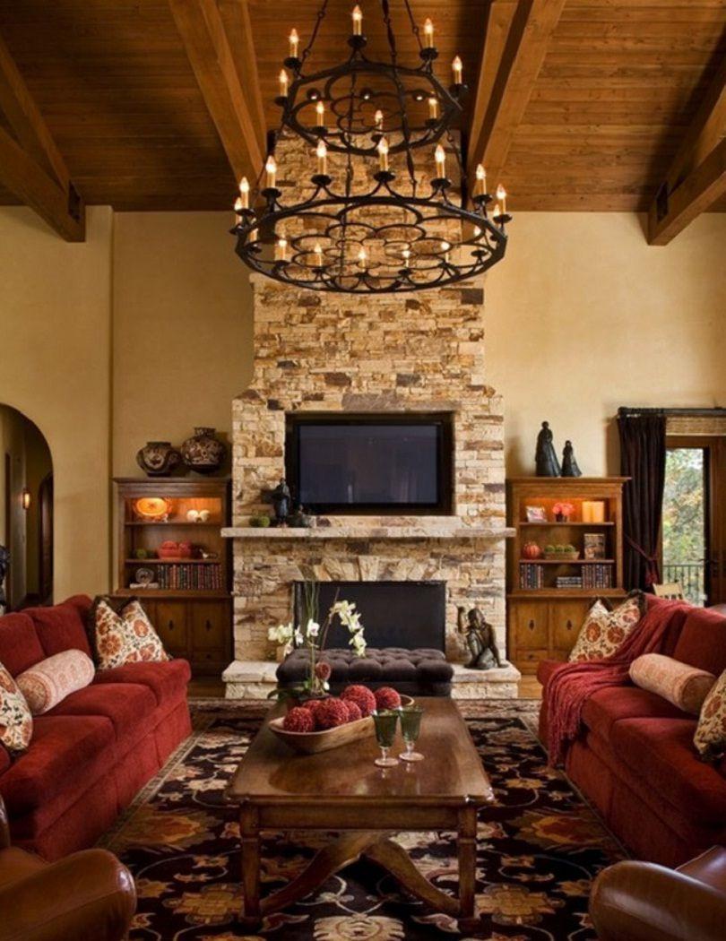 Inspiring Rustic Living Room Interior Design Idea With Red Sofa Rustic Rusticdecor Ru Living Room Decor Rustic Rustic Living Room Rustic Living Room Design Living room rustic decor