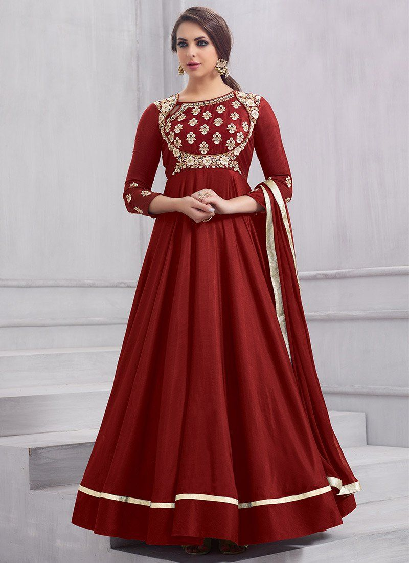 Buy Red Embroidered Anarkali Gown Embroidered Dresses And Gown