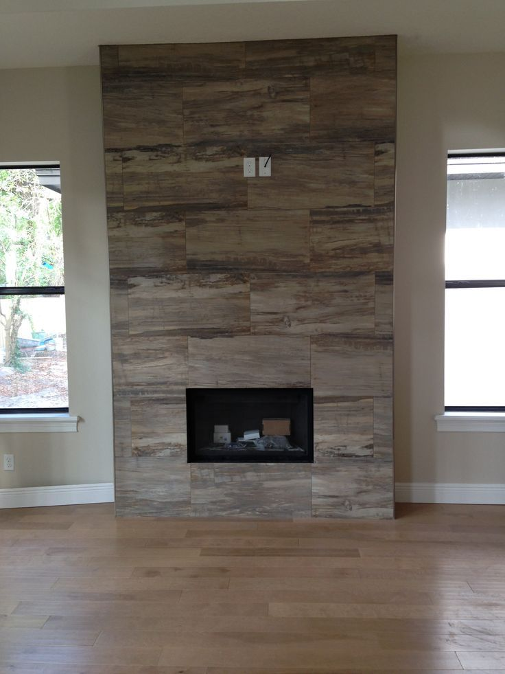 wood finish porcelain tile fireplace surround - Google Search ...