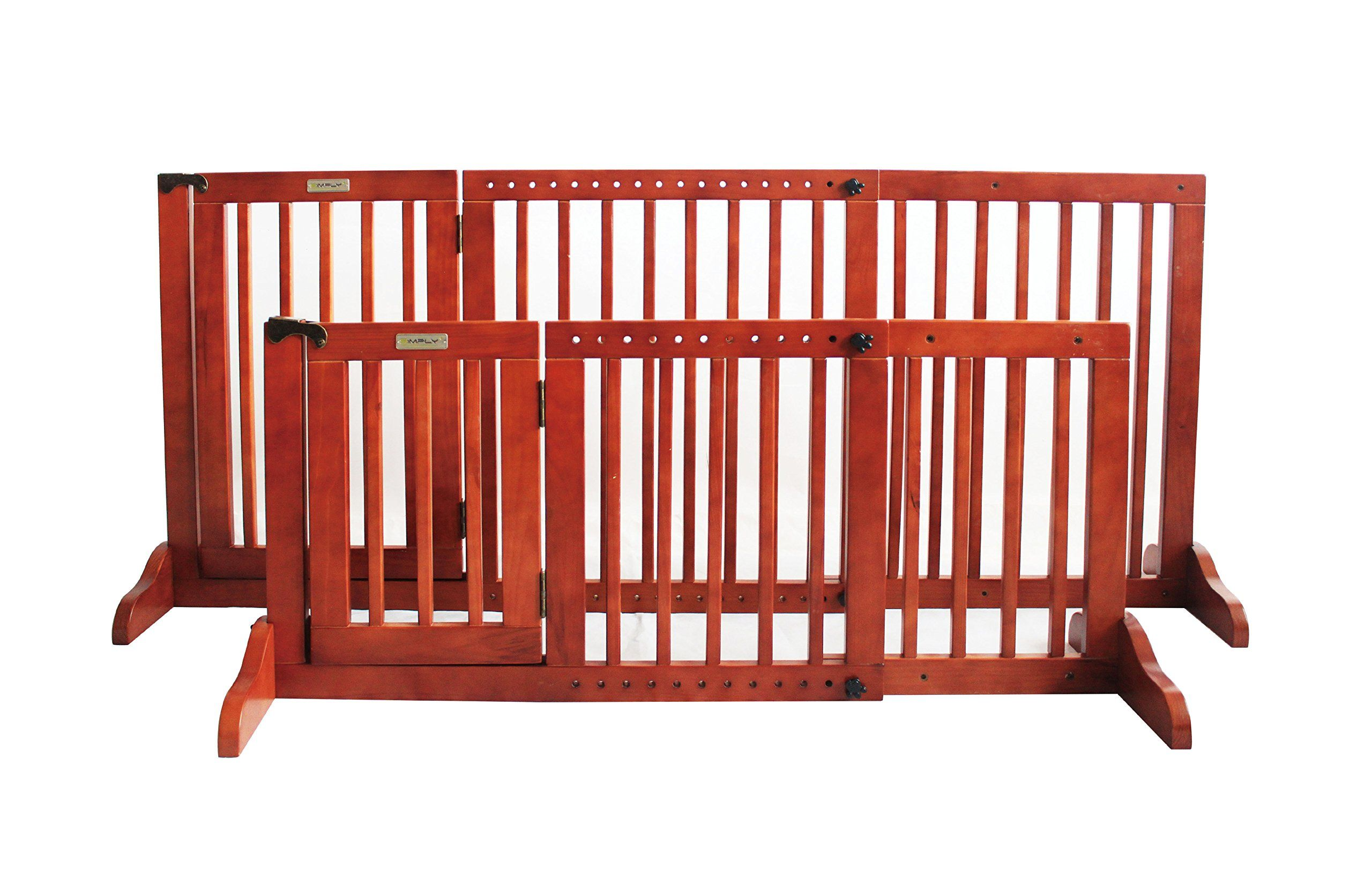 Simply Plus Deluxe Wooden Pet Gate Freestanding Pet Dog Gate For Indoor Home And Office Use Keeps Pets Safe Easy Set Up No Dog Gate Pet Gate Wooden Pet Gate