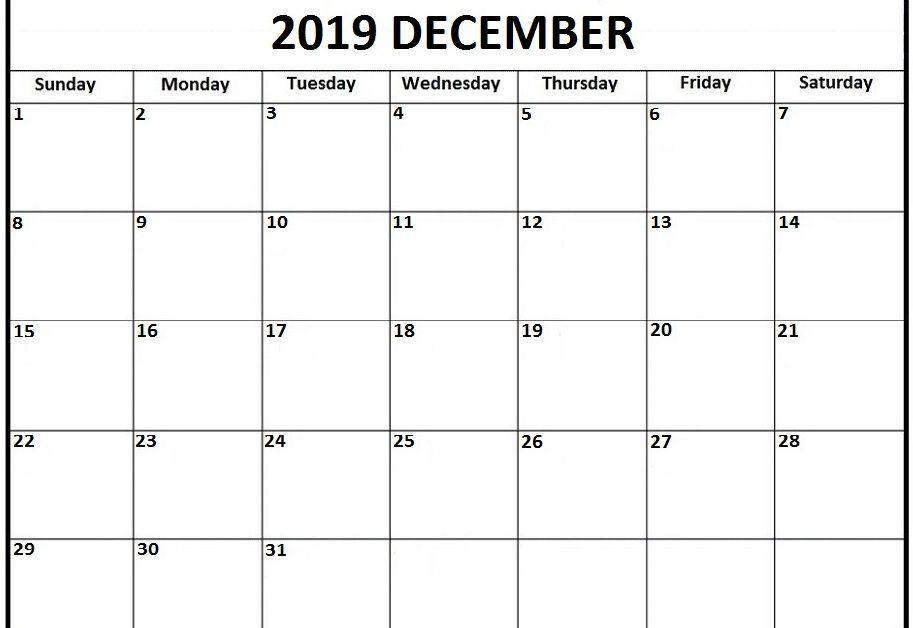 Best December 2019 Calendar Printable Template Pdf Word Excel