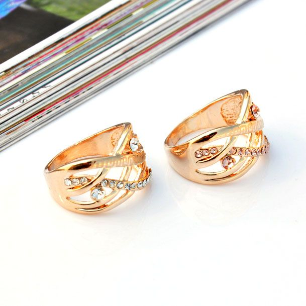 Gold Plated Wide Braided Wave Rhinestone Band Ring wholesale