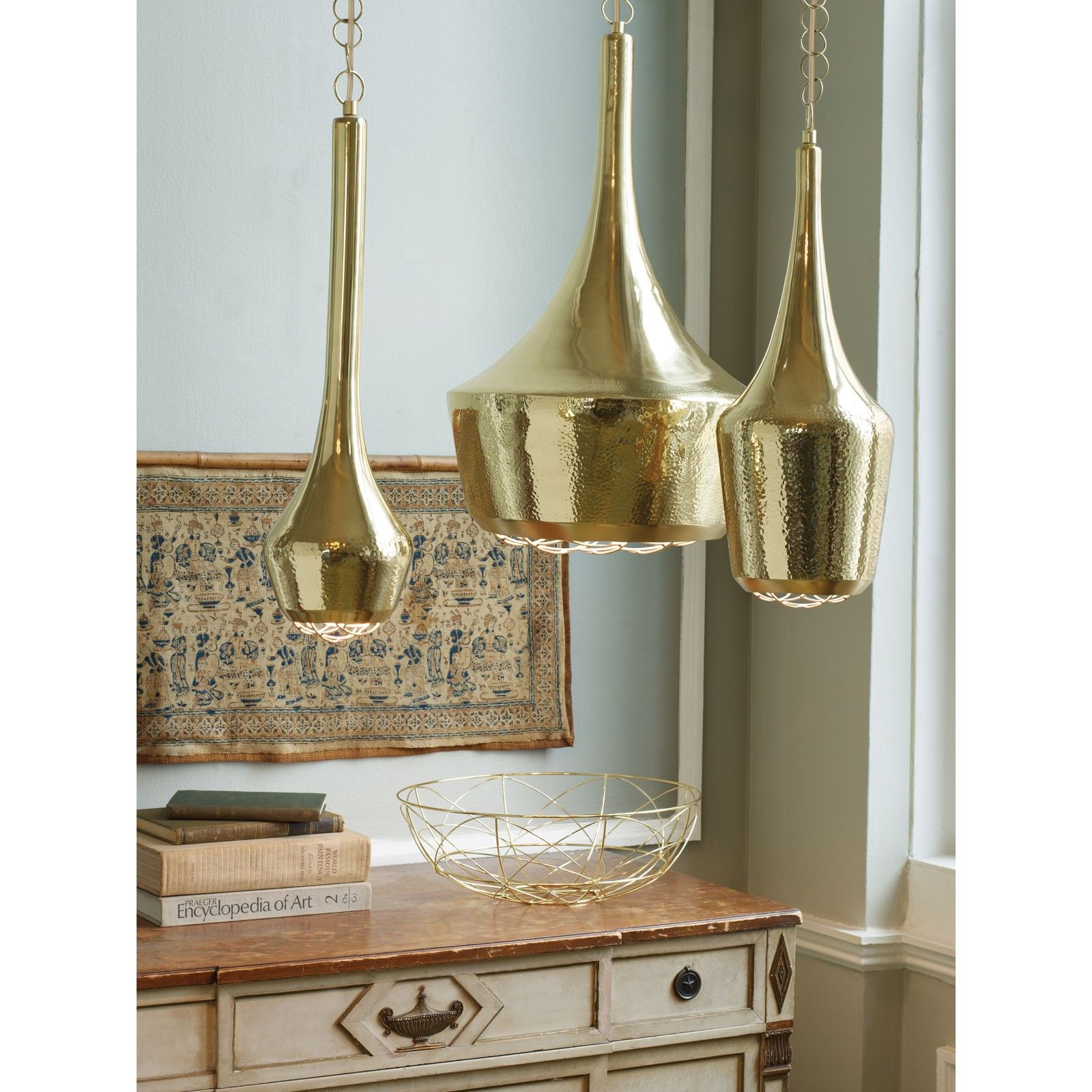 Light Pendant Canopy Minimalis Gold Hammered Pendant Light