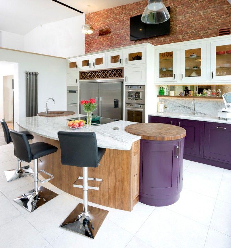 modern rustic kitchen idea with pop purple cabinets pop purple ...