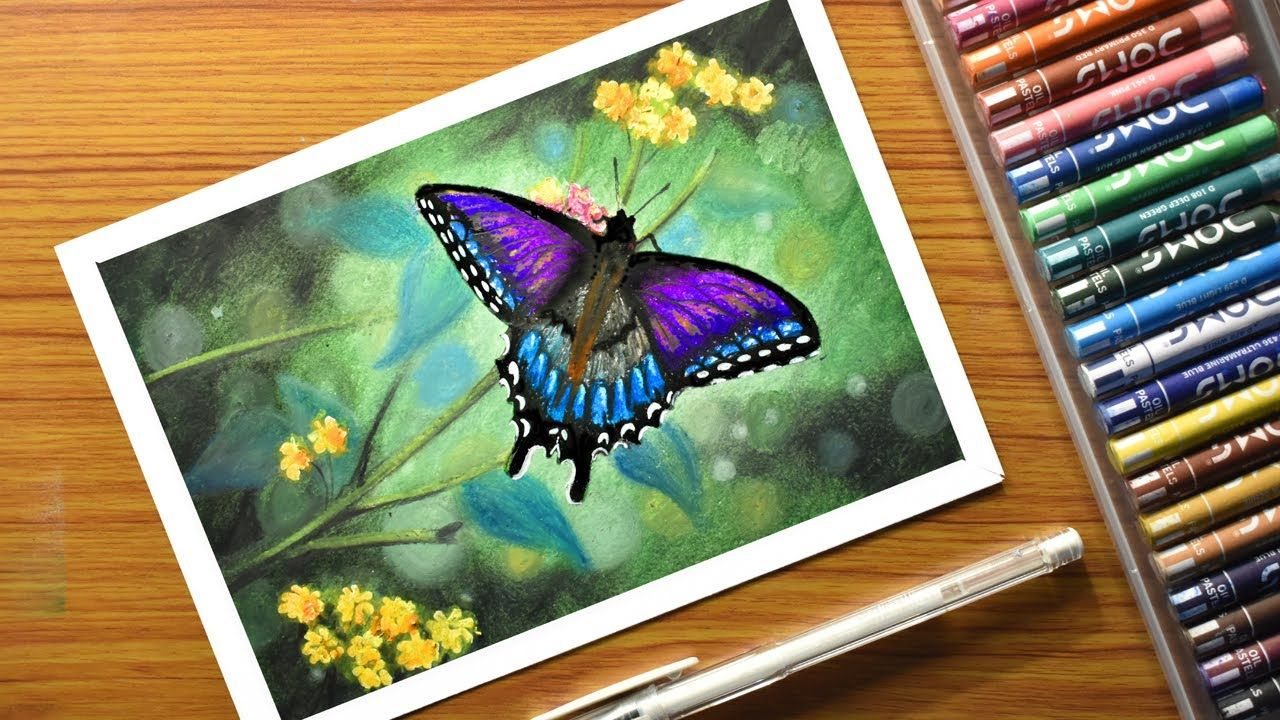How to draw easy butterfly with oil pastels step by step
