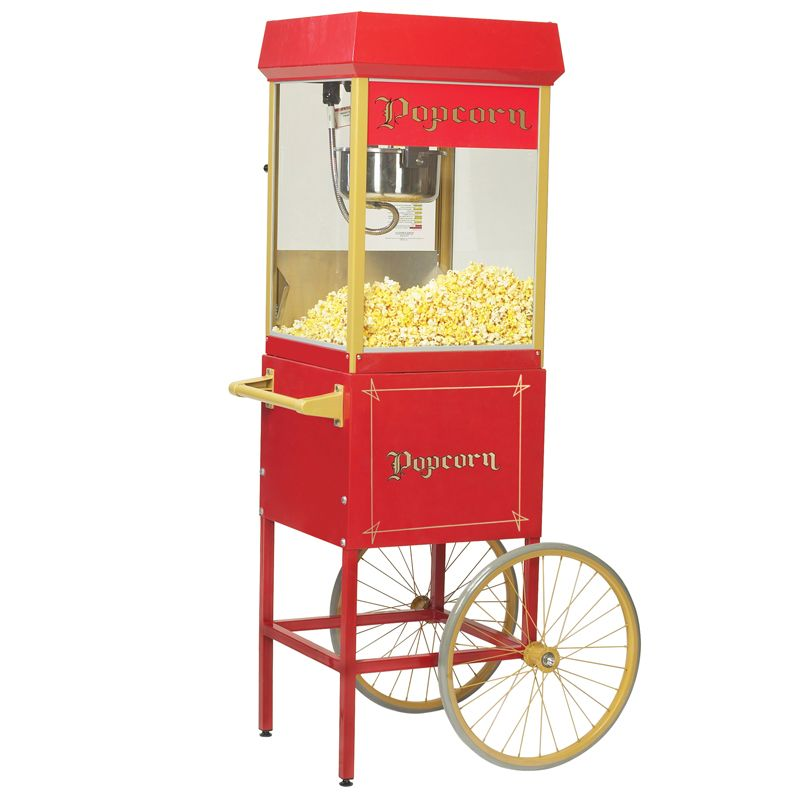 Red Fun Pop 8 Oz Popper Popcorn Machine Popcorn Popcorn Cart