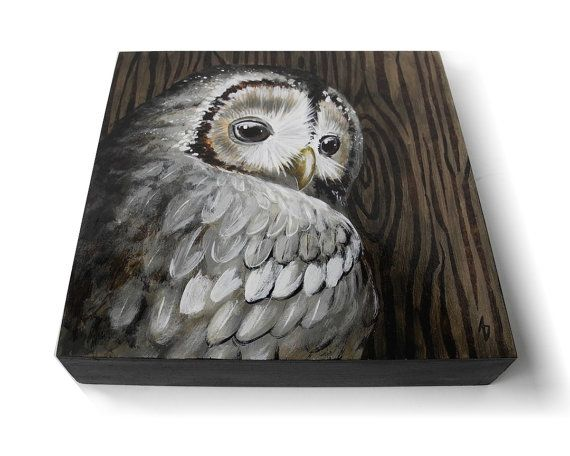 Hoot owl art, wood grain painting with grey owl. This woodland owl painting features a realistic nature scene in a neutral color palette of browns and grays. Perfect for woodland décor or an owl collector.  SIZE: 8x8 inches  MEDIA: 1.5 deep panel