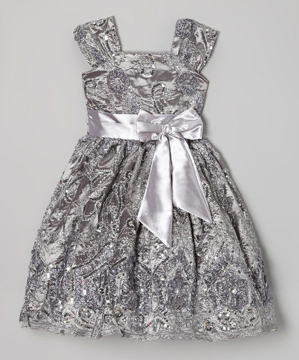 This Silver Floral Sequin A-Line Dress - Infant f942b84baabd