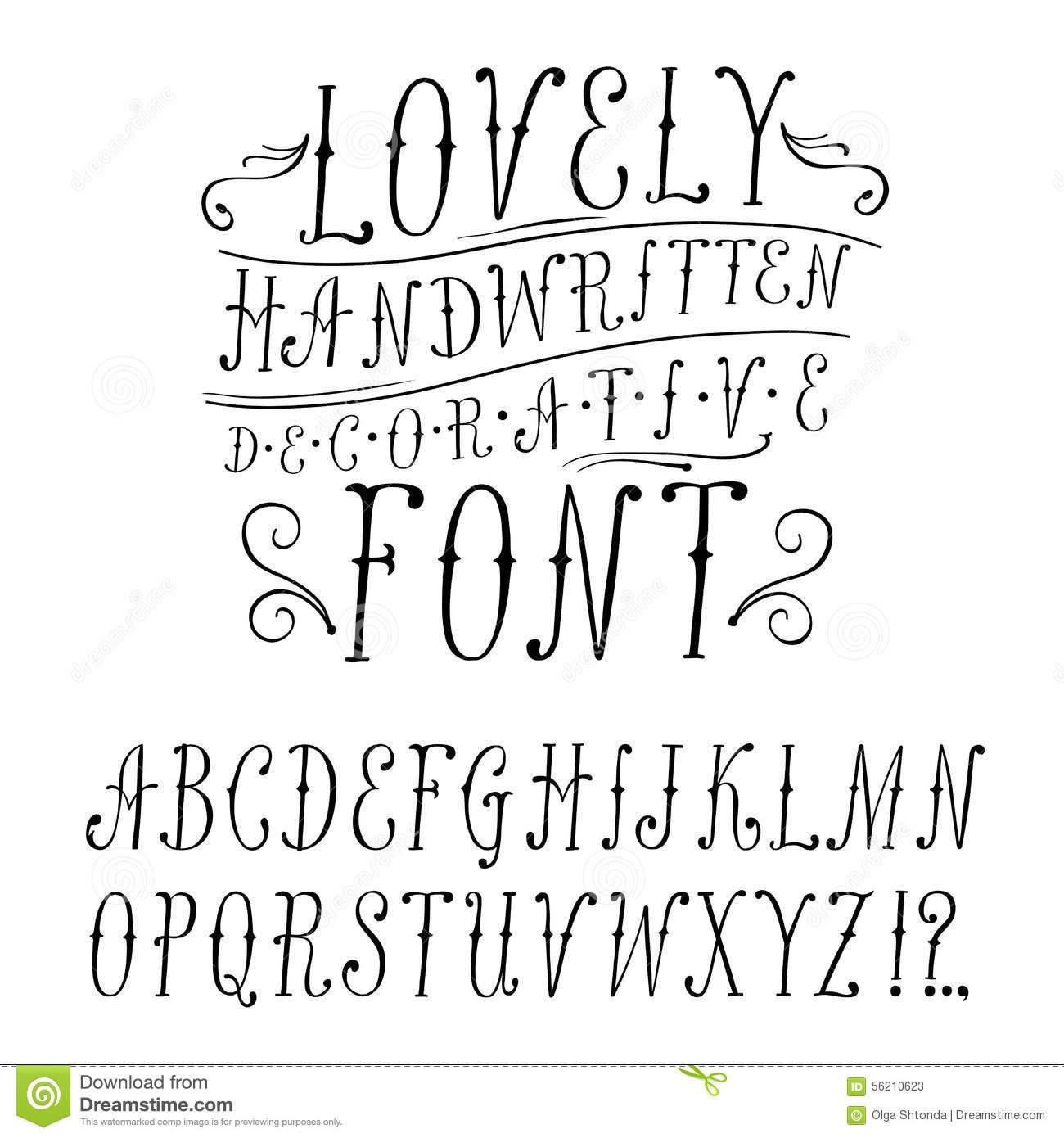 Vintage Doodle Vector Font Stock Photos
