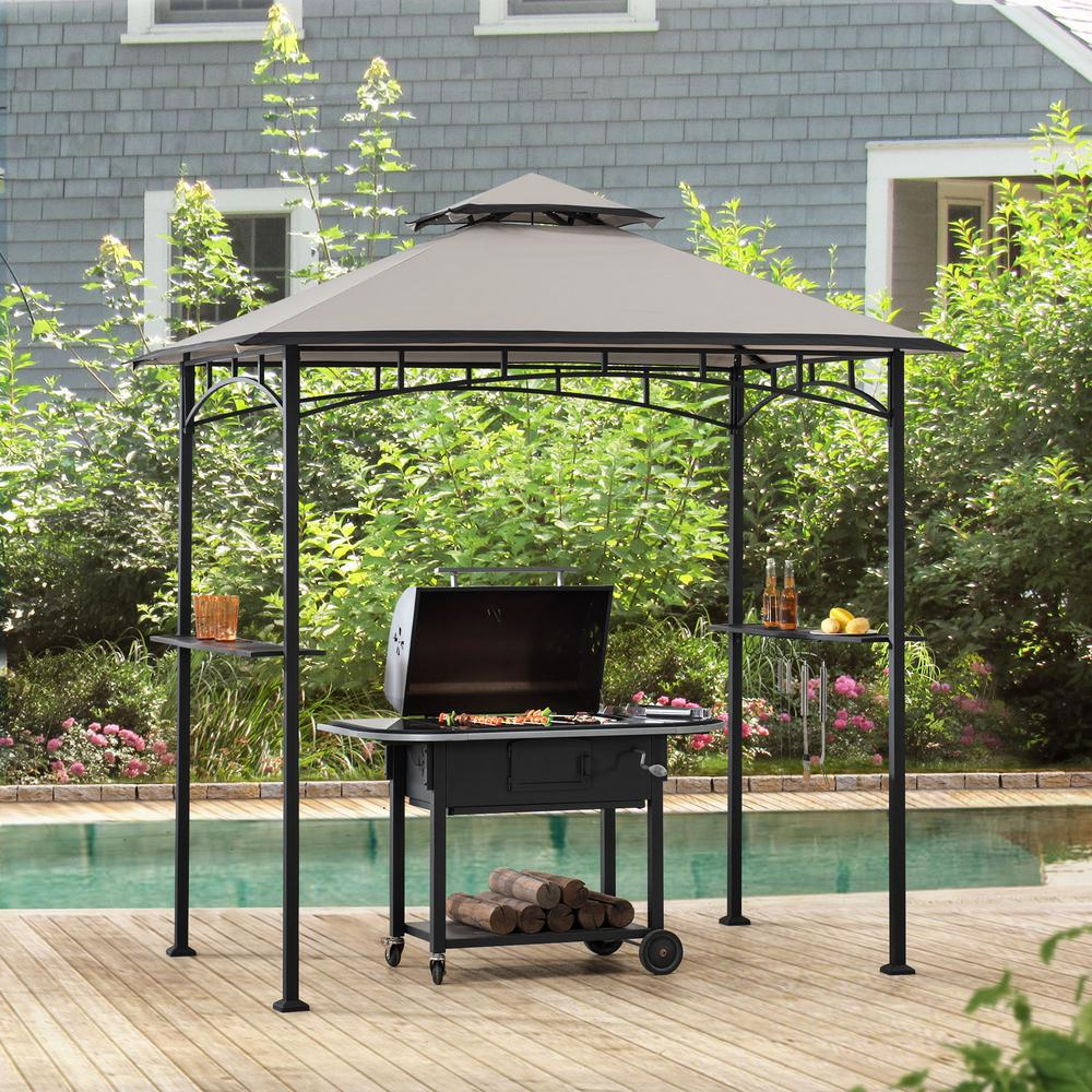 Sunjoy Marion 5 Ft X 8 Ft Black Steel 2 Tier Grill Gazebo With