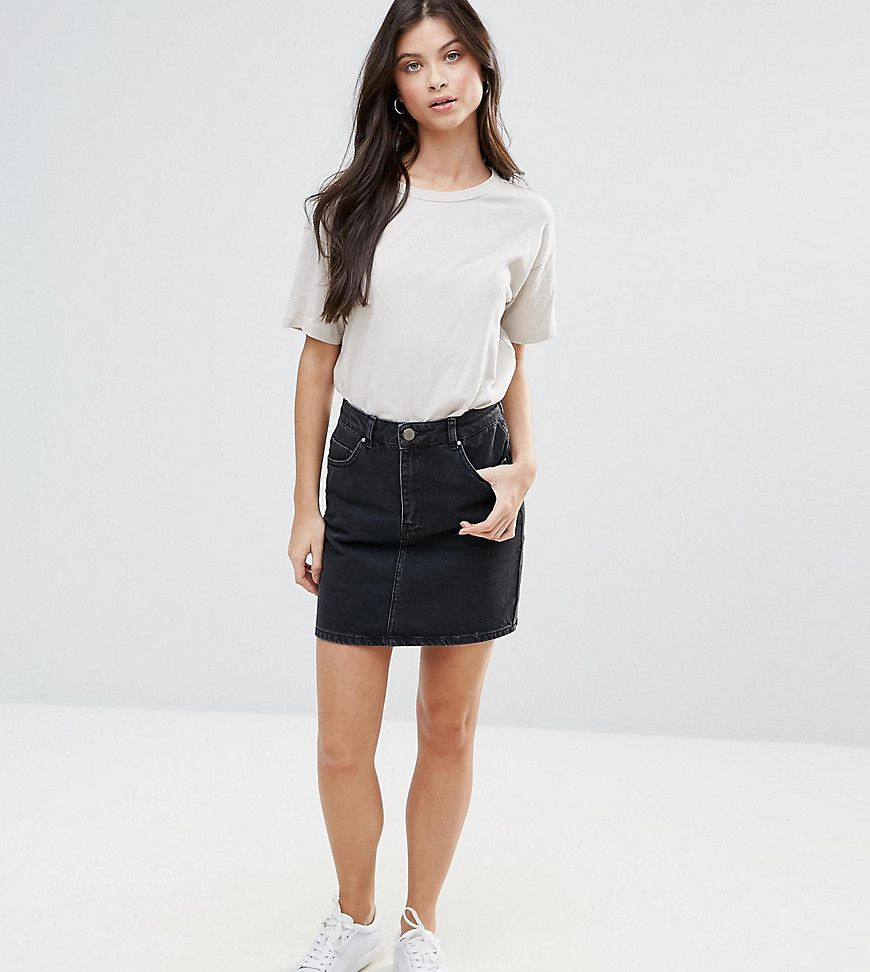 ASOS DESIGN Petite denim original high waisted skirt in washed black - Black Asos Petite Visa Payment For Sale Authentic Cheap Sale Cost Clearance Perfect kbRJVV4ix