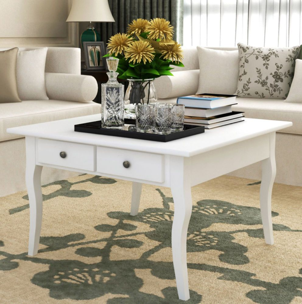 White Shabby Chic Coffee Table Vintage Retro Living Room Furniture ...