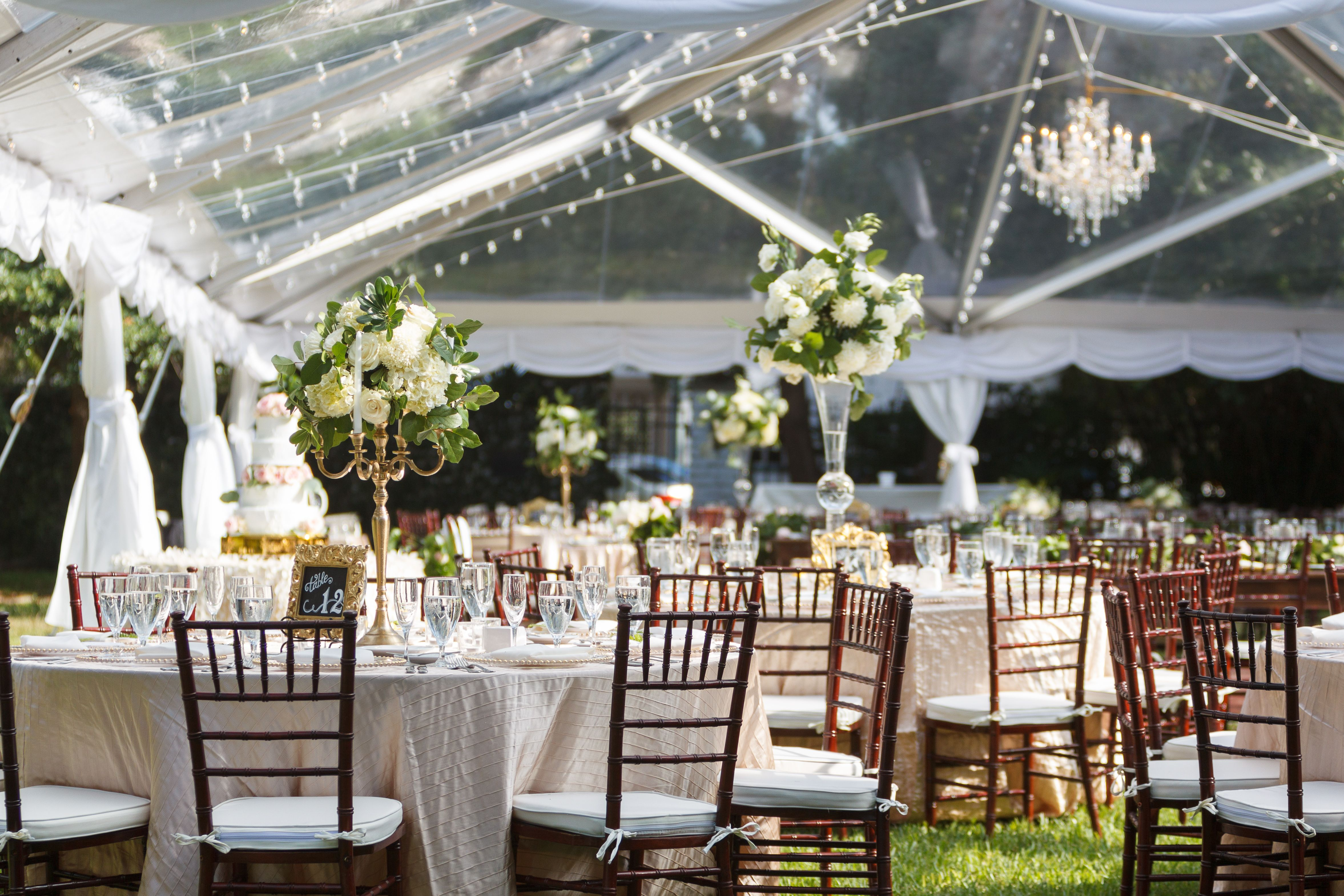 clear tent wedding reception outside with a southern garden theme