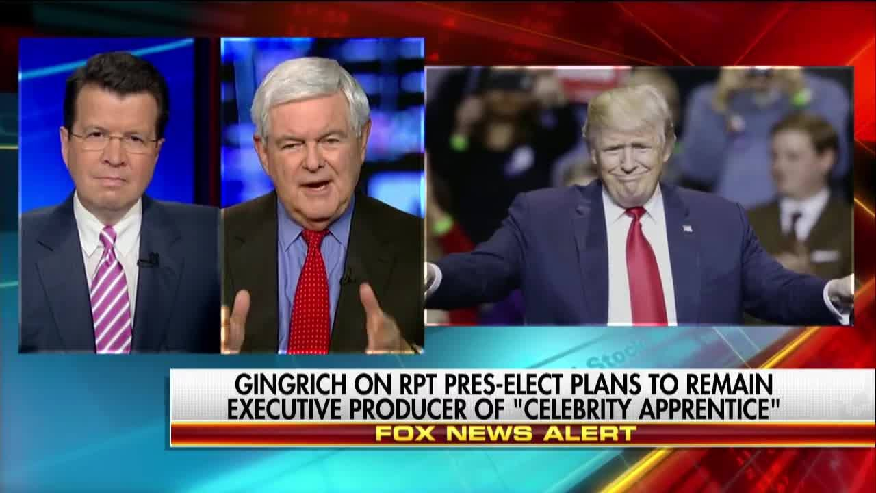 """Donald J. Trump is going to be the executive producer of a thing called the American government.""  Newt Gingrich hit back at those criticizing President-elect Trump for planning to stay on as executive producer of The New Celebrity Apprentice once he takes office."