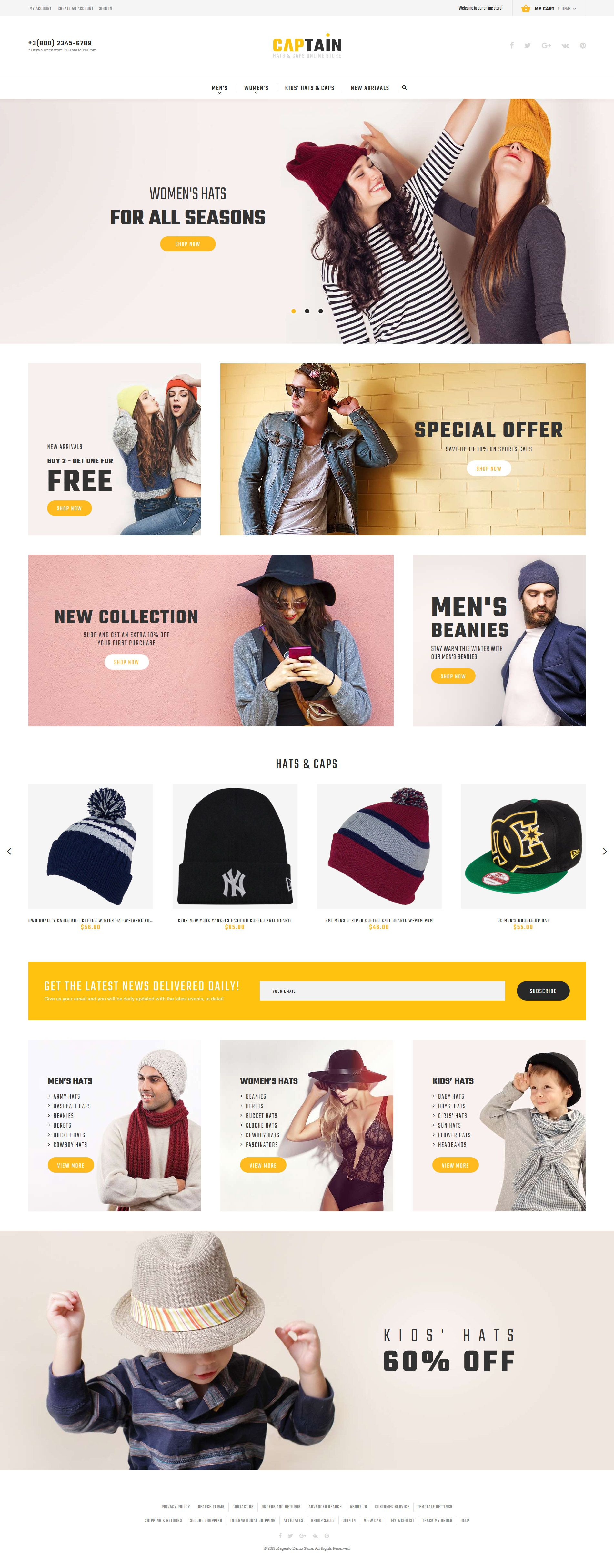 16730026ccd Captain - Hats and Caps Online Store Magento Theme