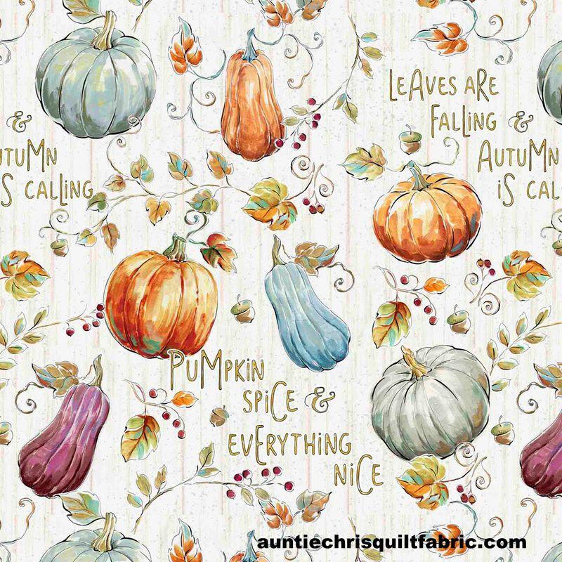 Cotton Quilt Fabric Harvest PUMPKIN PATCH Words Autumn Halloween - AUNTIE CHRIS QUILT FABRIC. COM #pumpkinpatch