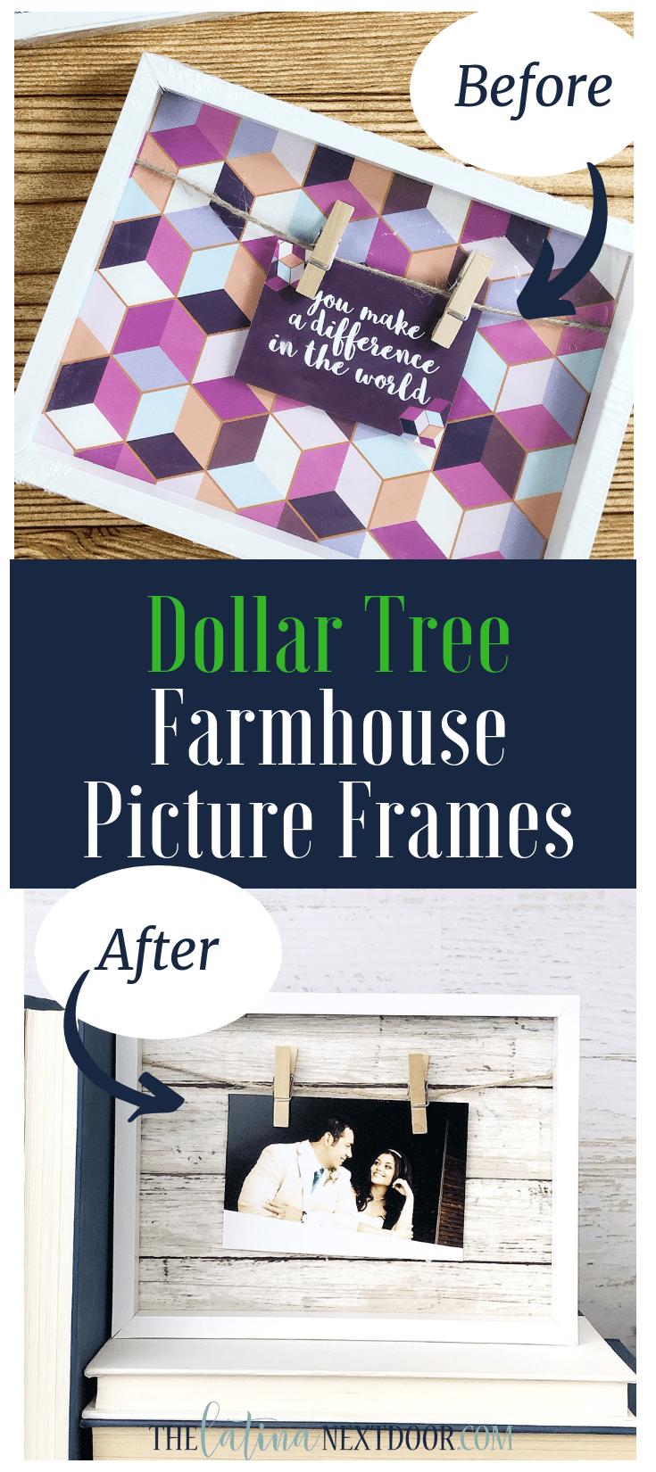 DIY Dollar Tree Farmhouse Picture Frames #dollartreecrafts
