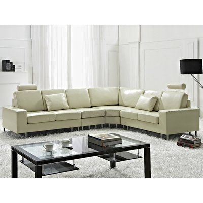 orren ellis karlo leather reversible sectional upholstery beige