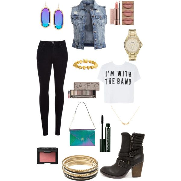 Biker bar babe by kamero88 on Polyvore featuring polyvore, fashion, style, VILA, Citizens of Humanity, Steve Madden, Tory Burch, Eddie Borgo, FOSSIL, Kendra Scott, Kate Spade, Jennifer Lopez, Urban Decay, NARS Cosmetics and Clinique