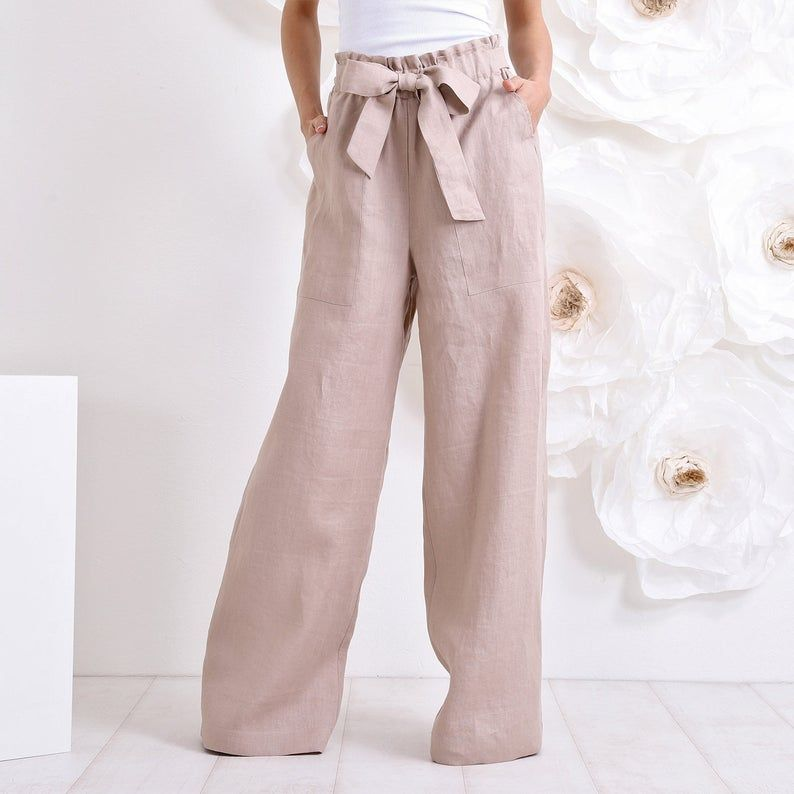 Photo of Pantalon Palazzo Linen, Pantalon taille haute, Pantalon jambe large, Pantalon en lin